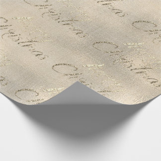 Merry Christmas Sepia Gold Burlap Linen Cottage Wrapping Paper