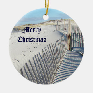 Merry Christmas Shadows, Sand Dunes, and Fences Ceramic Ornament