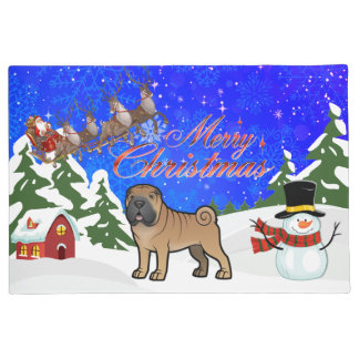 Merry Christmas Shar Pei Doormat
