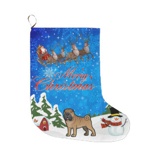 Merry Christmas Shar Pei Large Christmas Stocking