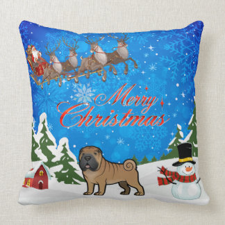 Merry Christmas Shar Pei Throw Pillow