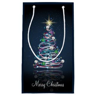 Merry Christmas Shiny Tree design Small Gift Bag