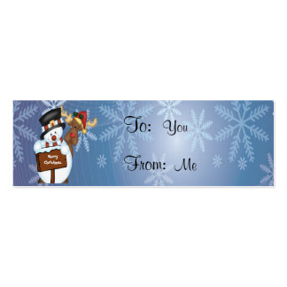 Merry Christmas Sign with Snowman and Reindeer Business Card Templates