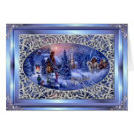 Merry Christmas Silver Christmas Scene Greetng Crd Greeting Card