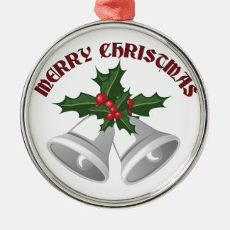 Merry Christmas Silver-Colored Round Ornament