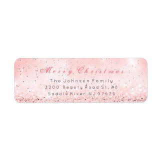 Merry Christmas Silver Confetti Pink Rose Glitter