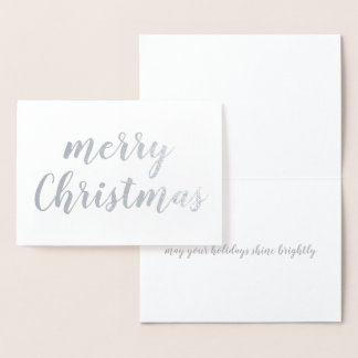 Merry Christmas Silver Foil Brush Script Foil Card