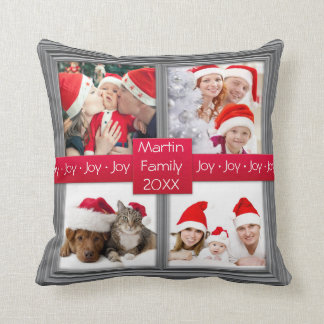 Merry Christmas Silver Photo Collage | Custom Throw Pillow