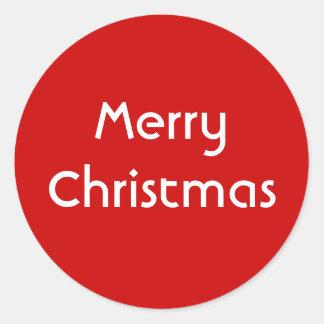 Merry Christmas. Simple Design. Red White Custom Round Sticker