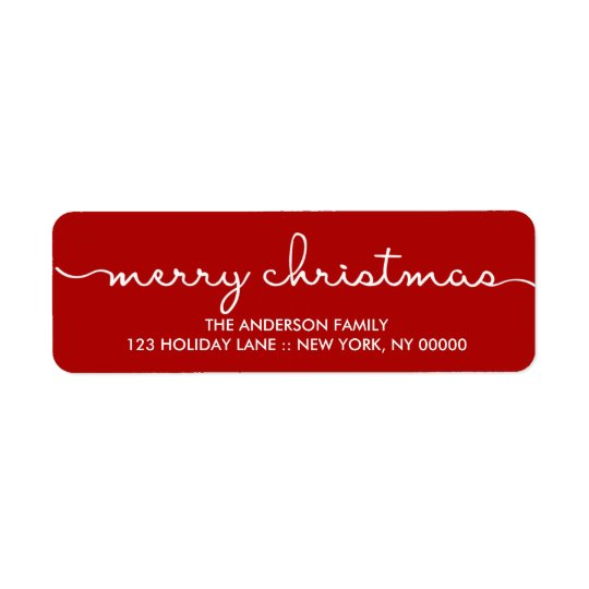 Merry Christmas Simple Red Hand Lettered Label