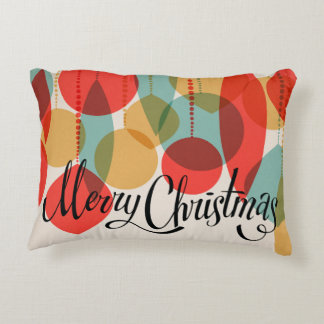 Merry Christmas simplified retro ornaments Accent Pillow