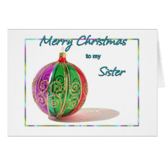 Merry Christmas Sister Multicolored Glass Ball Car Card