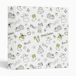 Merry Christmas Sketches Pattern 3 Ring Binder