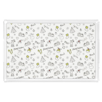 Merry Christmas Sketches Pattern Acrylic Tray