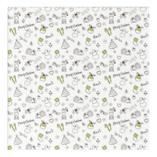 Merry Christmas Sketches Pattern Acrylic Wall Art
