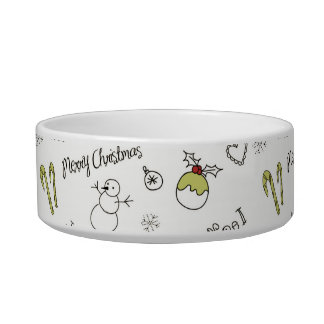 Merry Christmas Sketches Pattern Bowl