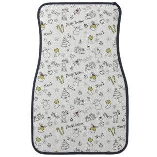 Merry Christmas Sketches Pattern Car Mat