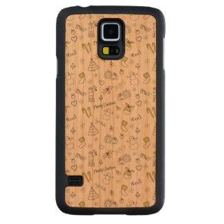 Merry Christmas Sketches Pattern Carved Cherry Galaxy S5 Case