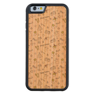 Merry Christmas Sketches Pattern Carved Cherry iPhone 6 Bumper Case