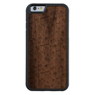 Merry Christmas Sketches Pattern Carved Walnut iPhone 6 Bumper Case