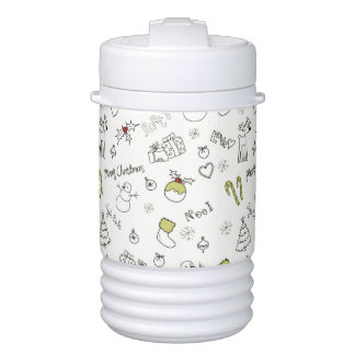 Merry Christmas Sketches Pattern Drinks Cooler