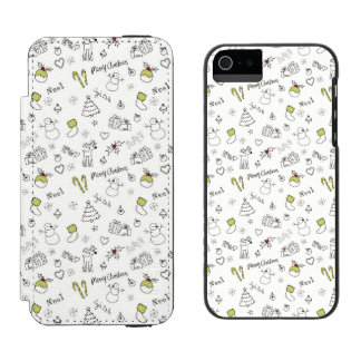 Merry Christmas Sketches Pattern Incipio Watson™ iPhone 5 Wallet Case