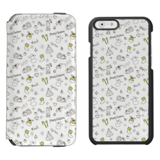 Merry Christmas Sketches Pattern Incipio Watson™ iPhone 6 Wallet Case