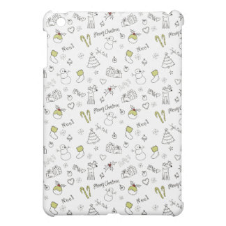 Merry Christmas Sketches Pattern iPad Mini Covers