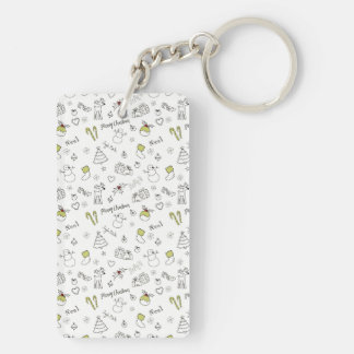 Merry Christmas Sketches Pattern Keychain