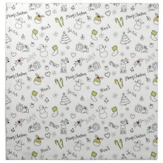 Merry Christmas Sketches Pattern Napkin