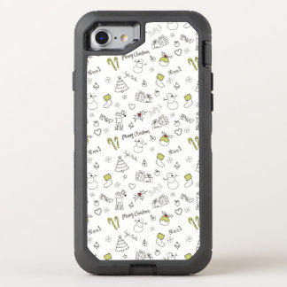 Merry Christmas Sketches Pattern OtterBox Defender iPhone 8/7 Case
