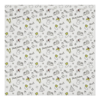 Merry Christmas Sketches Pattern Poster