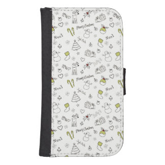 Merry Christmas Sketches Pattern Samsung S4 Wallet Case