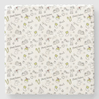 Merry Christmas Sketches Pattern Stone Coaster