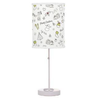 Merry Christmas Sketches Pattern Table Lamp