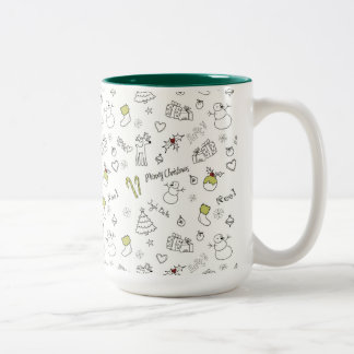 Merry Christmas Sketches Pattern Two-Tone Coffee Mug