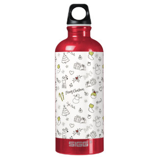 Merry Christmas Sketches Pattern Water Bottle
