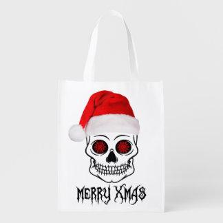 Merry Christmas-Skull Reusable Grocery Bag