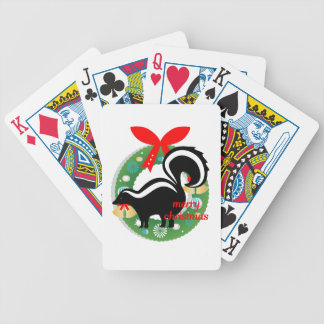 merry christmas skunk bicycle playing cards