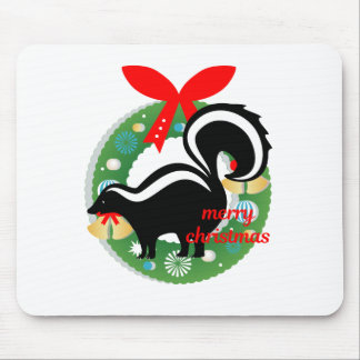 merry christmas skunk mouse pad