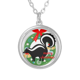 merry christmas skunk silver plated necklace