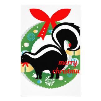 merry christmas skunk stationery