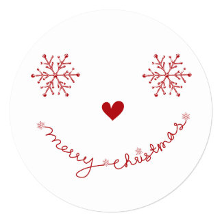 "Merry Christmas Smiley Holiday Photo Greetings 5.25"" Square Invitation Card"