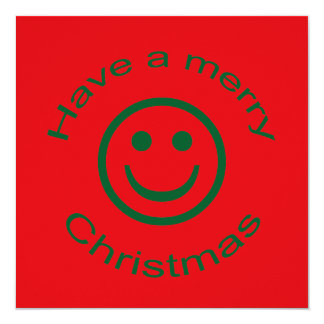 "Merry Christmas Smiley 5.25"" Square Invitation Card"