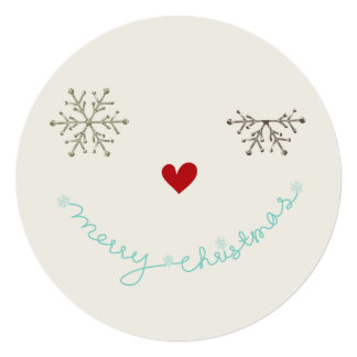 "Merry Christmas Smiley Wink Holiday Photo Greeting 5.25"" Square Invitation Card"