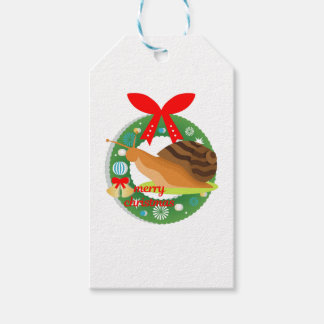 merry christmas snail gift tags