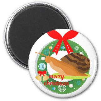 merry christmas snail magnet