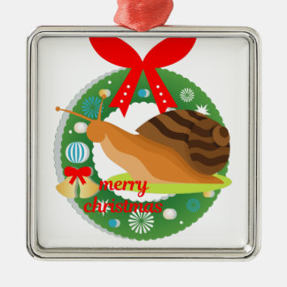 merry christmas snail metal ornament