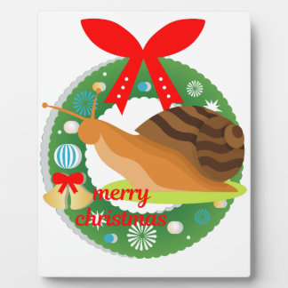 merry christmas snail plaque