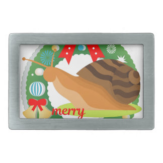 merry christmas snail rectangular belt buckle